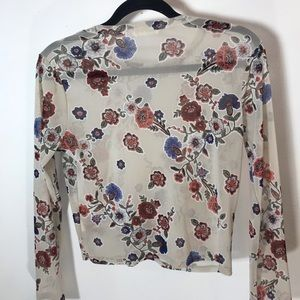 Gray Floral See Through Long Sleeve L